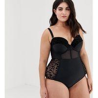 plus size corset style swimsuit - black, Lost ink