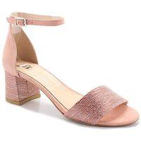 Tymoteo 252/a łosoś - sandały na niskim obcasie - różowy   beżowy