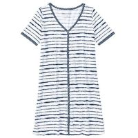 Koszula nocna z plisą guzikową ciemnoniebiesko-biały z nadrukiem, Bonprix, S-M
