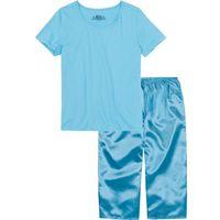 Piżama ze spodniami satynowymi w dł. 3/4 bonprix jasny niebieski, bawełna