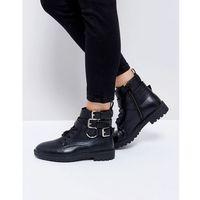 Raid helena black multi buckle grunge flat ankle boots - black