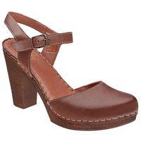 Sandały MANITU 920224-2 Braun Brązowe na obcasie