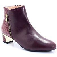 t2288 bordowe - hiszpańskie botki - bordowy marki Brenda zaro