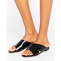 Dune London Labrinth Leather Slide Flat Sandals - Black, kolor czarny