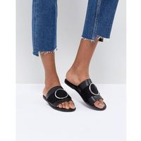 round buckle trim sandal - black marki London rebel