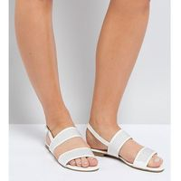 Truffle collection wide fit studded flat sandal - white