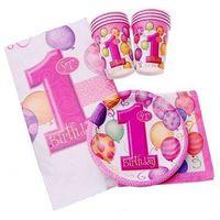 Zestaw na roczek dla dziewczynki 1st Girl Birthday Baloniki Pink - 25 elementów