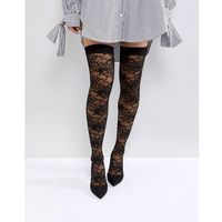ASOS KACEY Lace Over The Knee Boots - Black, kolor czarny