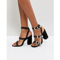 Raid joy black western detail heeled sandals - black