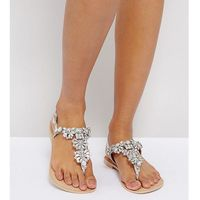 ASOS FENDER Wide Fit Leather Embellished Flat Sandals - Silver, kolor szary