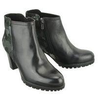CAPRICE 25401-21 black camou comb., botki damskie - Czarny, kolor czarny