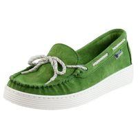 Mokasyny wiosenne zielony 197 płaska podeszwa skóra nubukowa marki Nessi