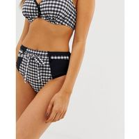 Pour Moi Checkers high waist control bikini bottom in black and white - Multi, bikini