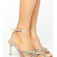 Office millie knot rose gold mid heeled sandals - gold