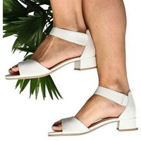 9-28212-24 biała perła - wygodne, niskie sandały - biały, Caprice