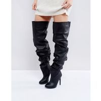 Public desire black slouch over the knee boots - black