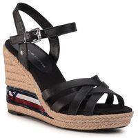 Tommy hilfiger Espadryle - tommy sequins high wedge sandal fw0fw04843 black bds