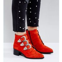 ASOS RELIEVE Wide Fit Suede Buckle Ankle Boots - Red, kolor czerwony