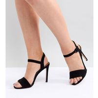 wide fit heeled sandal - black marki River island