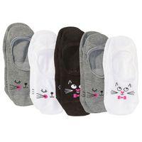Skarpety stópki z buzią kota (5 par) bonprix szaro-biało-czarny