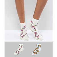 Asos design 2 pack glitter pineapple and flamingo ankle socks - multi