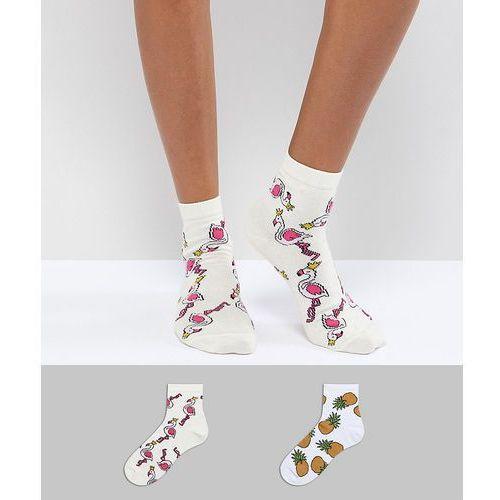 Asos design 2 pack glitter pineapple and flamingo ankle socks - multi
