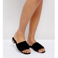 River island wide fit suede ruffle front slider - black