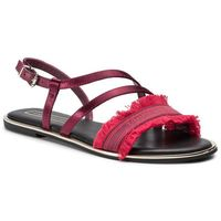 Sandały TOMMY HILFIGER - Feminine Satin Flat Sandal FW0FW04162 Beet Red 522, w 7 rozmiarach