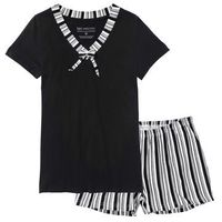 Piżama z krótkimi spodenkami czarno-biały w paski, Bonprix, XXL-XXXL