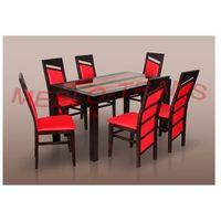 stół z szyba i krzesła