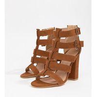 New look wide fit multi strap block heel sandal - brown