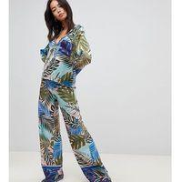 Asos design tall tropical border print satin pyjama set - multi marki Asos tall