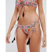 frida circle tile print tassel lace up bikini bottom - multi marki Asos