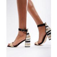 multi stripe mid heel sandals - black, River island