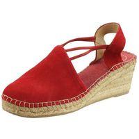 Sandały letnie Toni Pons Czerwony Koturn Inny Materiał, kolor czerwony