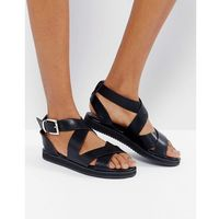 London Rebel Crossover Chunky Flat Sandal - Black, kolor czarny