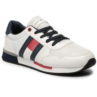 Sneakersy - low cut lace-up sneaker t3b4-30483-0733 white/blue x336, Tommy hilfiger