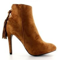 Buty obuwie damskie Botki na szpilce z frędzelkiem 66-217 camel