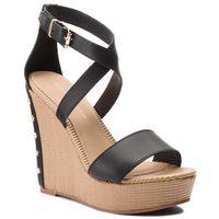 Sandały TOMMY HILFIGER - Feminine Wedge Sandal Stars Studs FW0FW02236 Black 990, w 3 rozmiarach