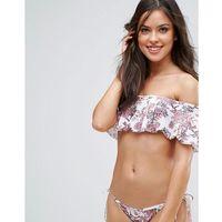 bardot frill off shoulder delicate floral bikini top - pink marki Playful promises