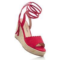 Sandały na koturnie bonprix czerwony