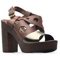 Sandały Lemar 40120 Czekoladowe+miedź, kolor brązowy