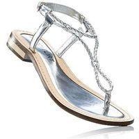Sandały skórzane bonprix srebrny, kolor szary