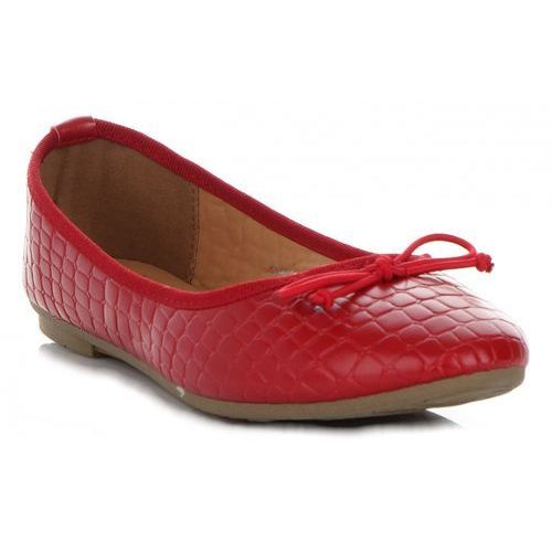 Belluci Eleganckie balerinki damskie we wzór aligatora marki bellucci czerwone (kolory)
