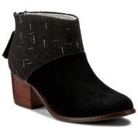 Botki TOMS - Leila 10008897 Black Suede/Dotted Wool, kolor czarny