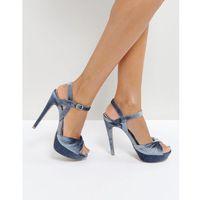 Qupid velvet heel platform sandal - blue