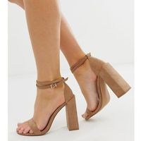 Asos design wide fit highlight barely there block heeled sandals in beige - beige