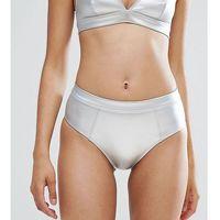 Monki Metallic Tanga Bikini Bottoms - Silver, 1 rozmiar