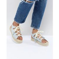 Pull&Bear lace up espadrille in blue - Blue