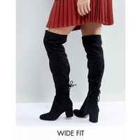 Aldo wide fit pull on over the knee boots - black